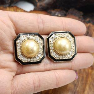 Vintage ivory pearl rhinestone square black enamel
